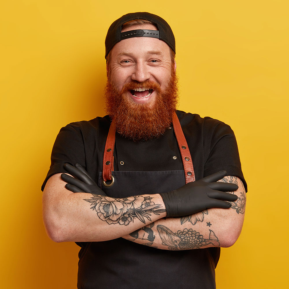 Modern chef on a yellow background